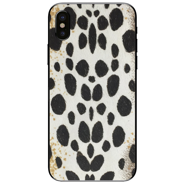 White Leopard Print Calf Hair iPhone XS Leather Skin