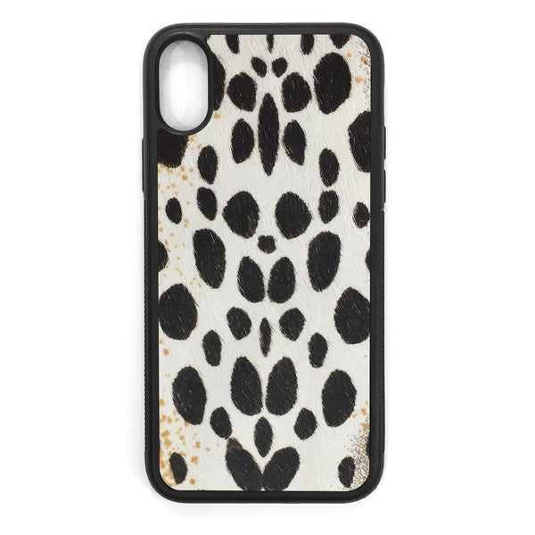 White Cheetah Pony Hair iPhone X Leather Case