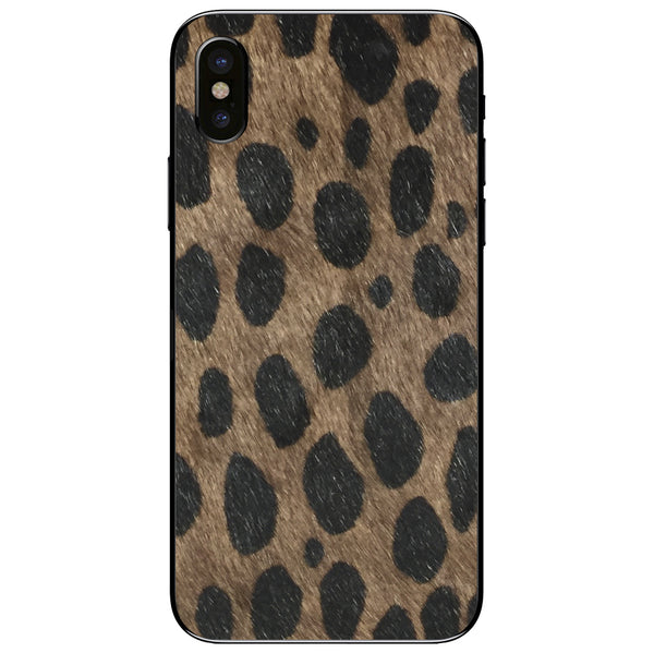 Brown Leopard Print Calf Hair iPhone XS Leather Skin