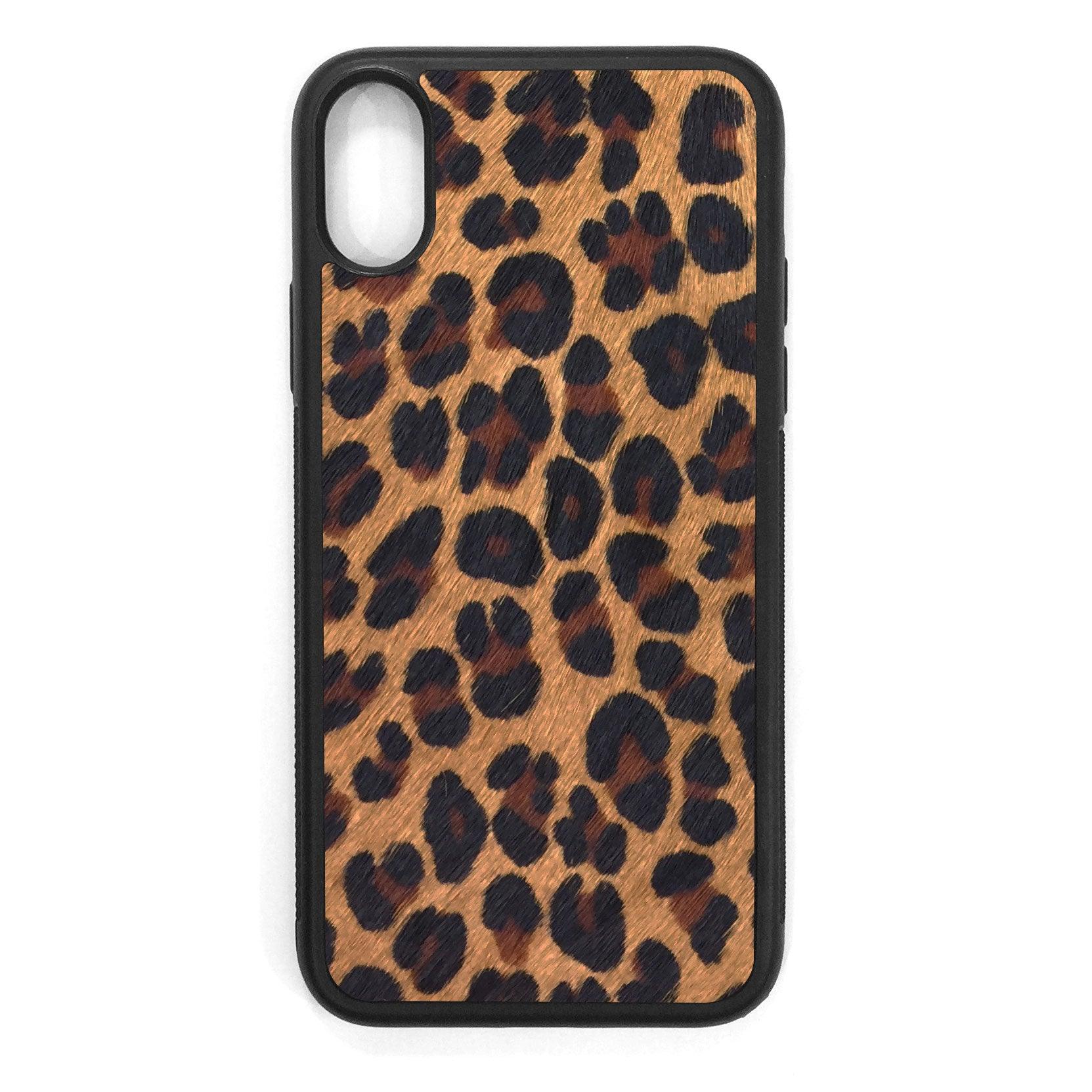 Leopard Pony Hair iPhone XS Leather Case