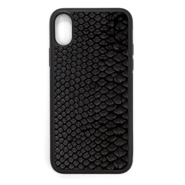 Black Python Back iPhone X Leather Case
