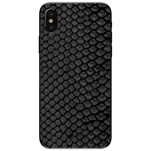 Black Python Back iPhone X Leather Skin