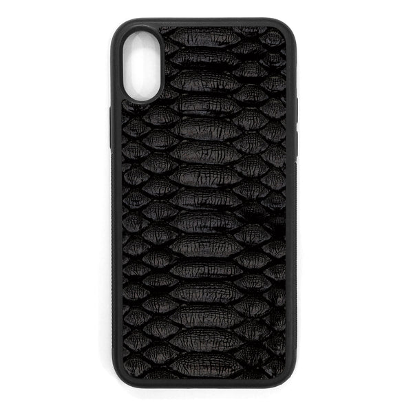 Black Python iPhone XS Leather Case