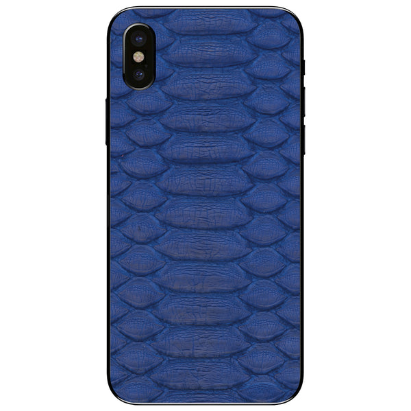 Cobalt Python iPhone XS Leather Skin
