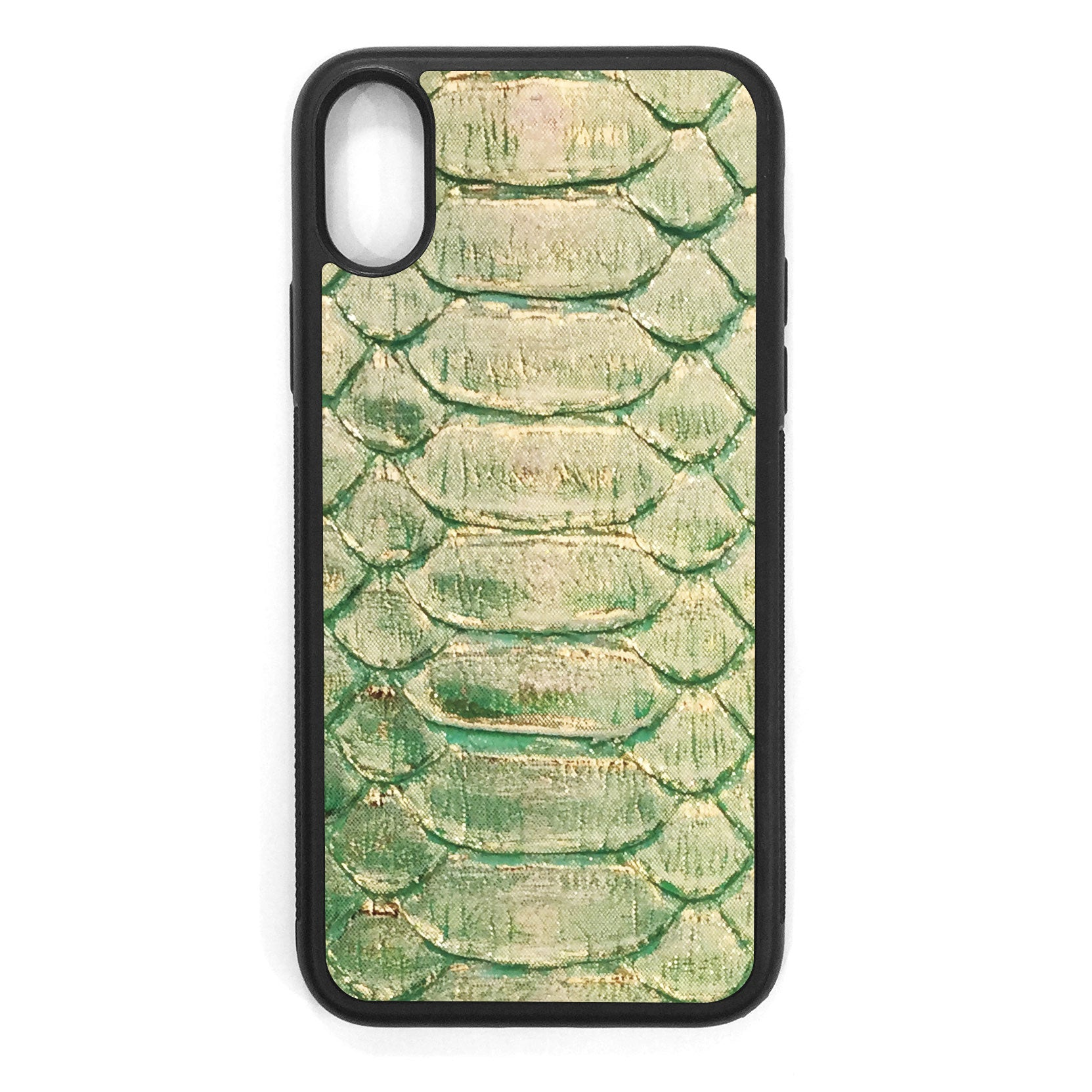 Emerald and Gold Python iPhone XS Leather Case