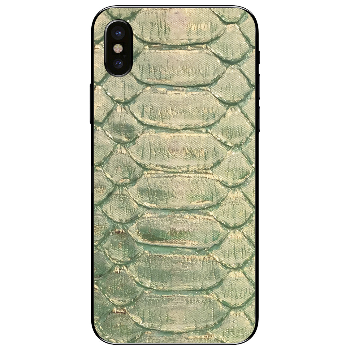 Emerald and Gold Python iPhone X Leather Skin