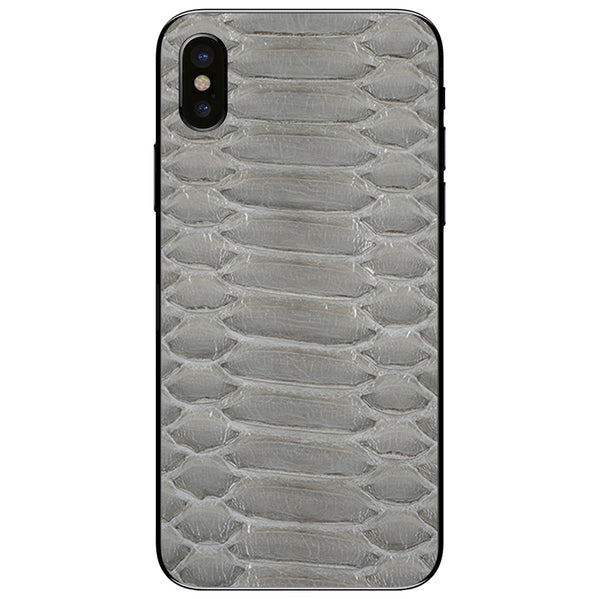 Gloss Gray Python iPhone XS Leather Skin