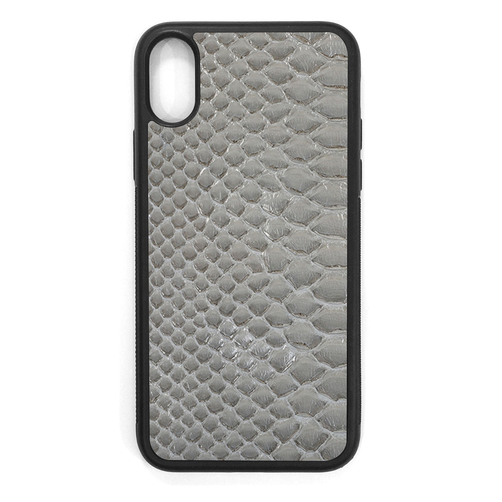 Gloss Gray Python Back iPhone X Leather Case