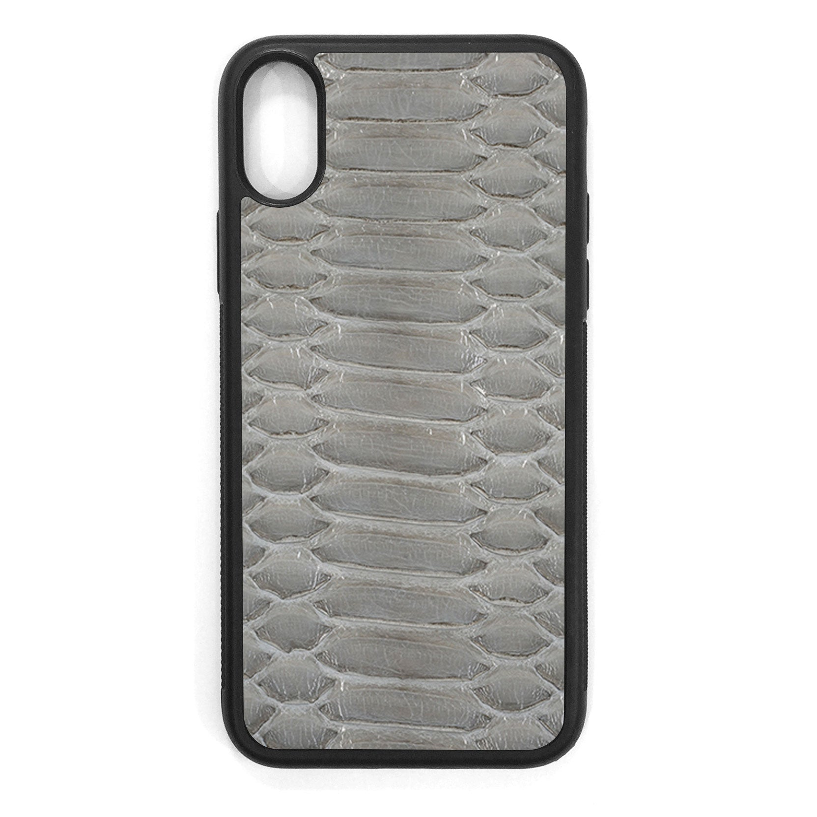 Gloss Gray Python iPhone XS Leather Case
