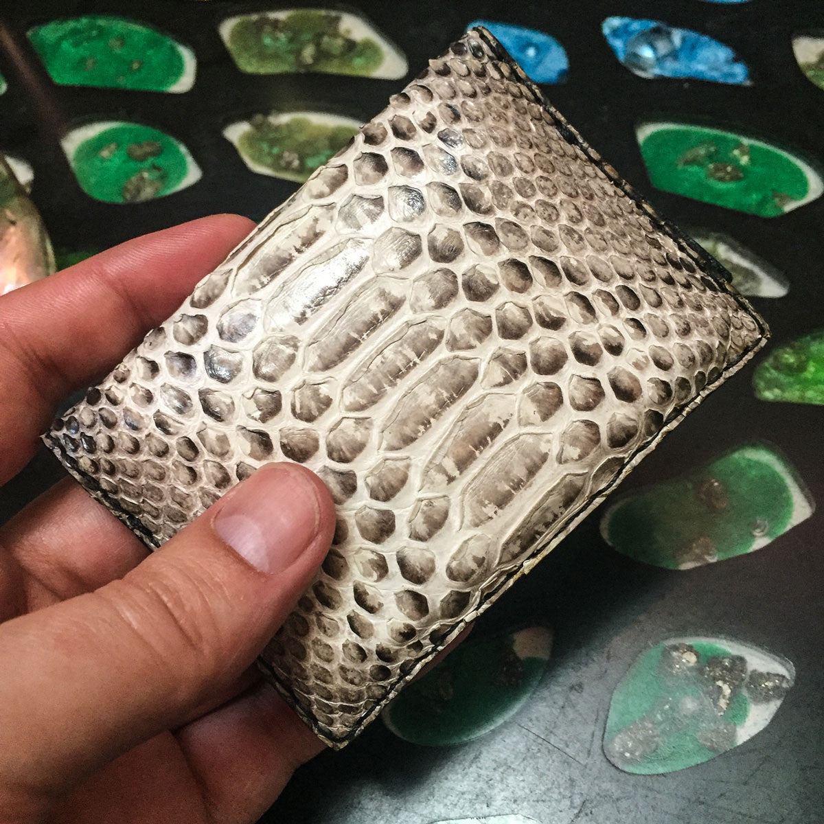 Python  Leather 2 Pocket Mini Wallet
