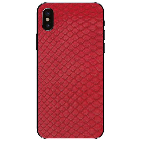 Red Python Back iPhone X Leather Skin