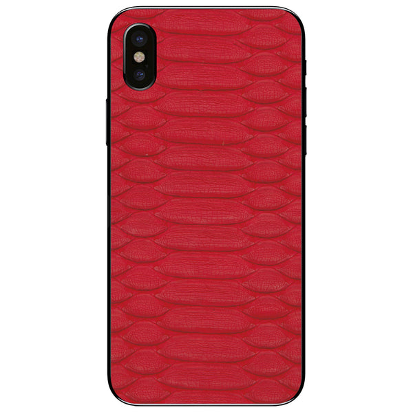 Red Python iPhone X Leather Skin