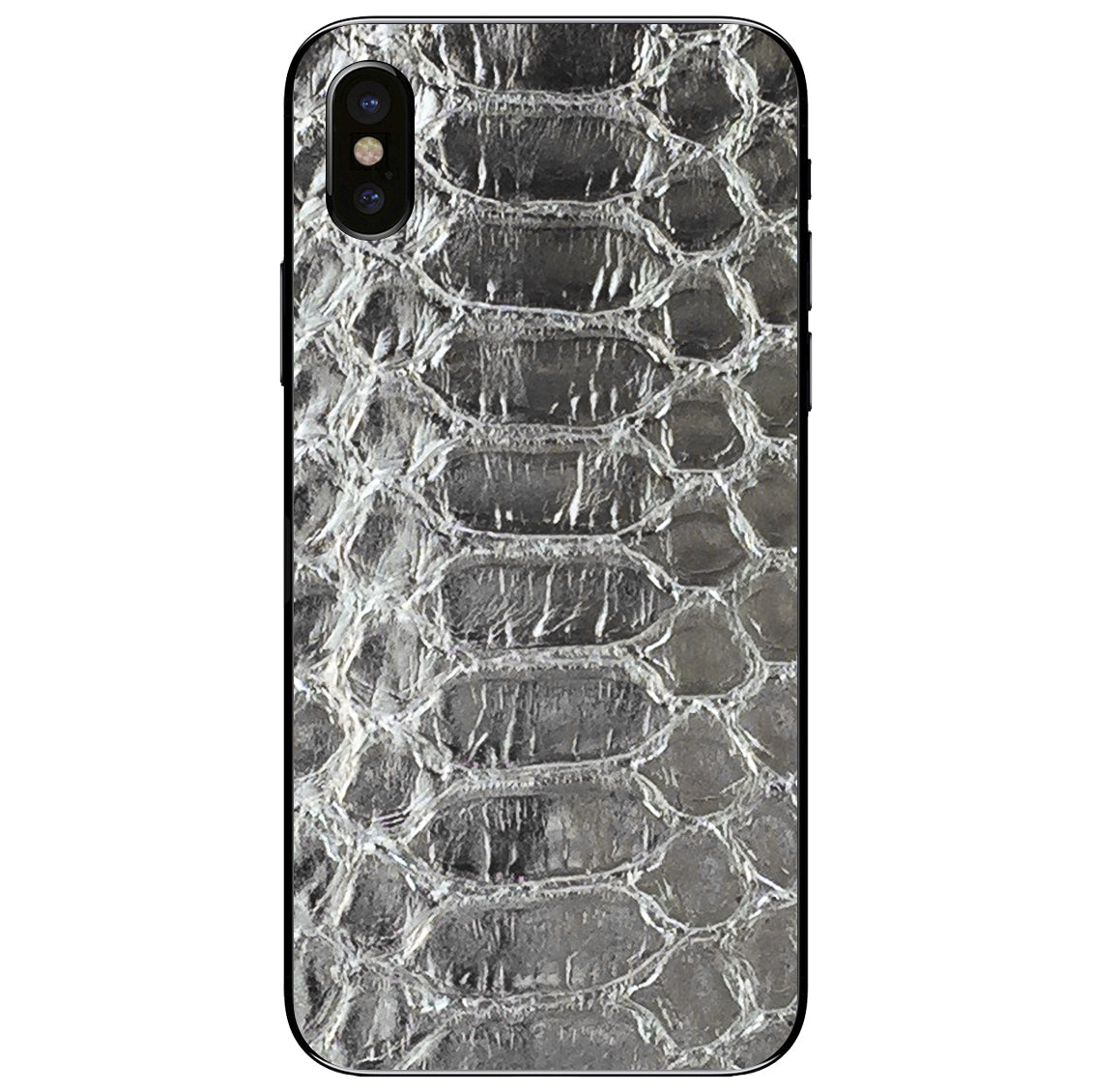 Silver Python iPhone X Leather Skin
