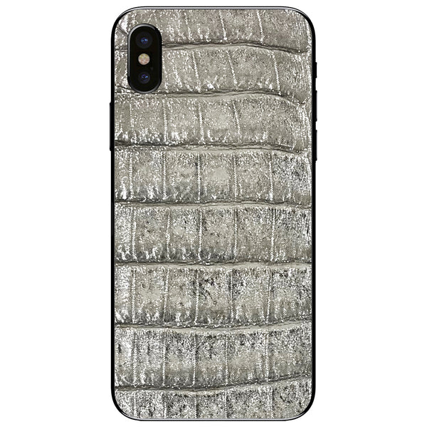 Silver Crocodile iPhone X Leather Skin