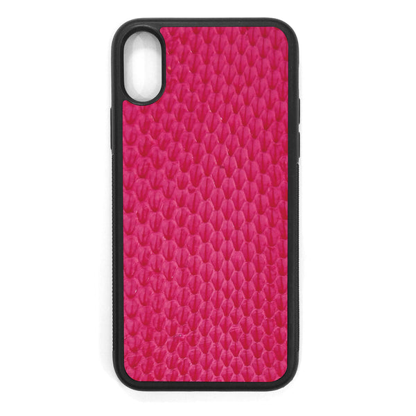 Pink Whip Snake iPhone XS Leather Case