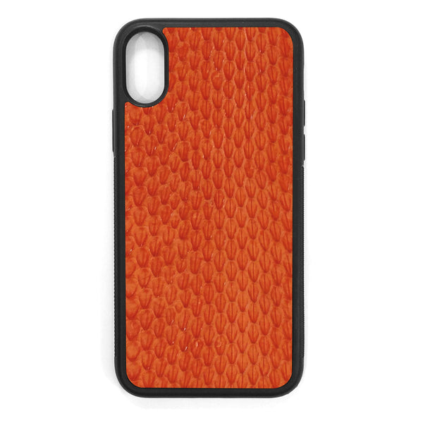 Orange Whip Snake iPhone XS Leather Case
