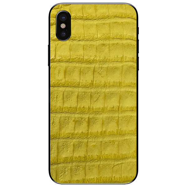 Yellow Crocodile iPhone X Leather Skin