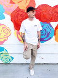 "Embroidered ""Half Line Logo"" T-Shirt - White"