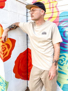 "Embroidered ""Half Line Logo"" T-Shirt - Beige"