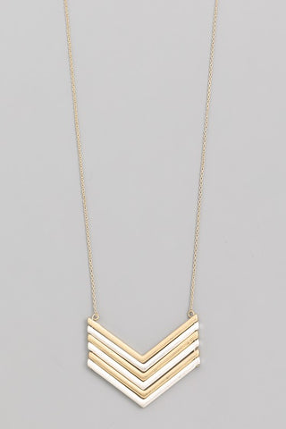 Gold + Silver Chevron Pendant Necklace