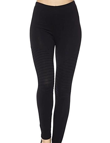Black Moto Leggings with stylish pintuck detailing on the leg from Details Boutique. www.shop-details.com