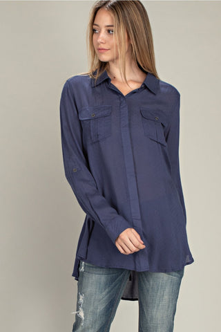 Navy Swiss Dot Tunic