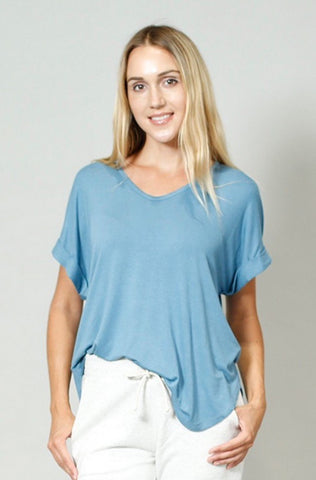 Lucy Roll-Sleeve Top - Light Blue