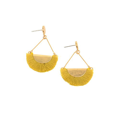 Fringe Earrings - Yellow