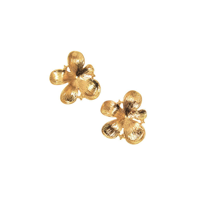 Flower Post Earrings - Gold