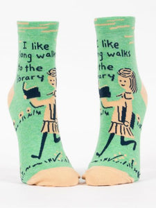 I Like Long Walks to the Library - Women's Ankle Socks