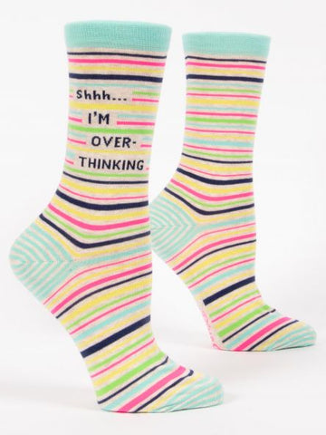 Shh! I'm Over-Thiking - Women's Crew Socks
