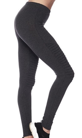 Gray Moto Leggings with stylish pintuck detailing on the leg from Details Boutique. www.shop-details.com