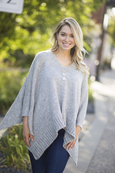 Grey Knit Poncho