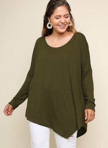Green Asymmetrical Tunic - Plus