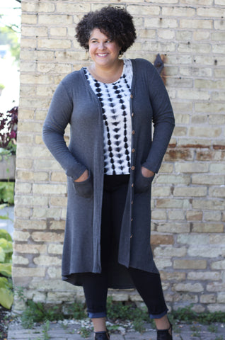 Button-Up High/Low Cardigan - Gray