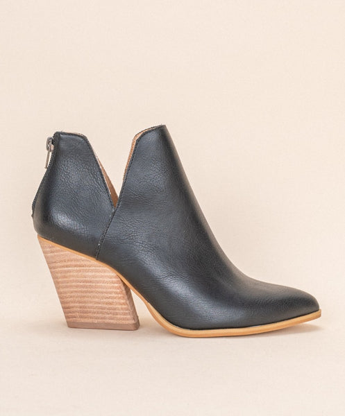 Black Cut-Out Ankle Boot