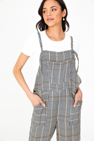 Houndstooth Plaid Overalls