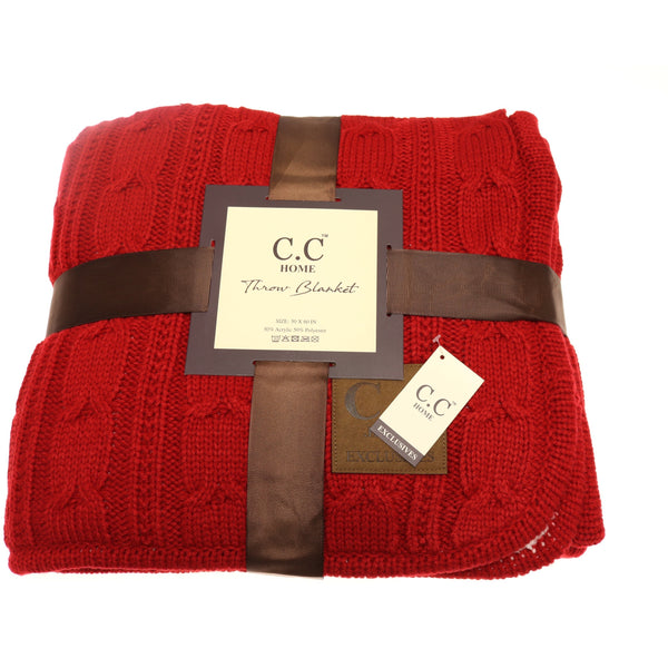 CC Chunky Cable Knit Sherpa Lined Throw Blanket