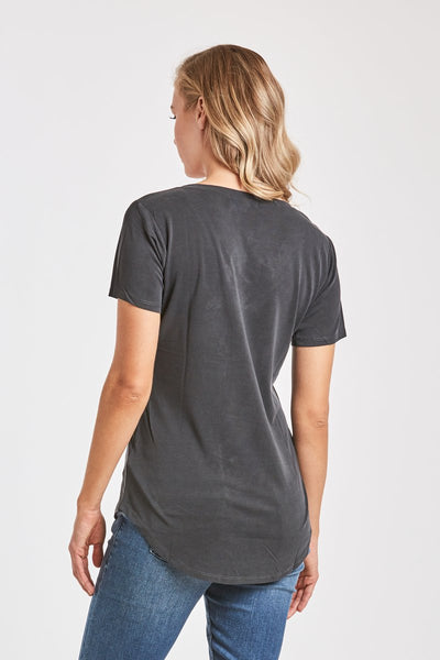 Vivi V-Neck Top - Charcoal Gray