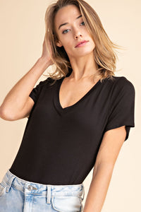 Bamboo Bodysuit - Black V-Neck