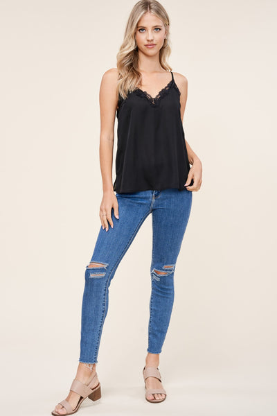 Black Lace Trimmed Cami