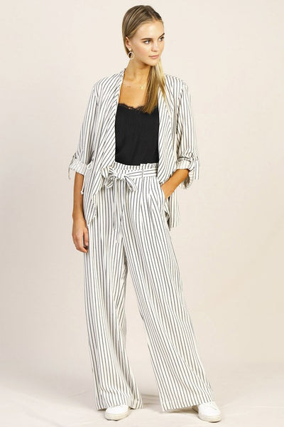 Black + White Pinstripe Pants
