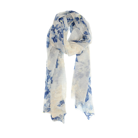 Watercolor Scarf - Blue Floral