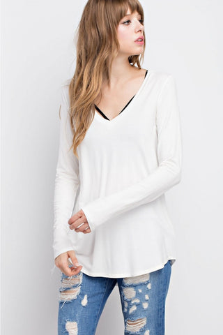 Avery Bamboo V-Neck - Ivory