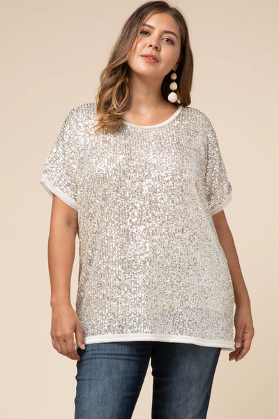 Champagne Gold Sequin Top - Plus