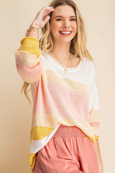 Coral + Yellow Striped Sweater