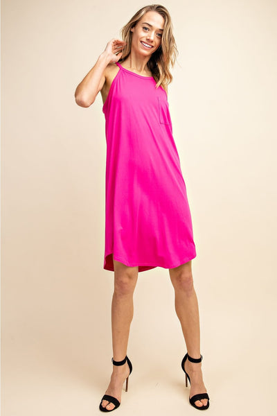 Fuchsia Halter Tank Dress