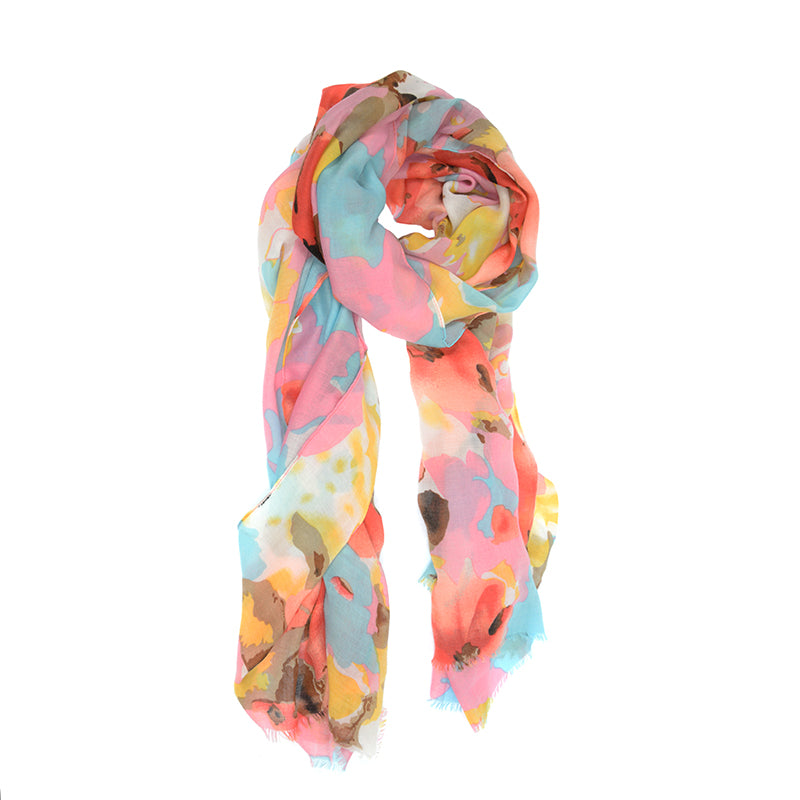 Watercolor Scarf - Bright Blooms