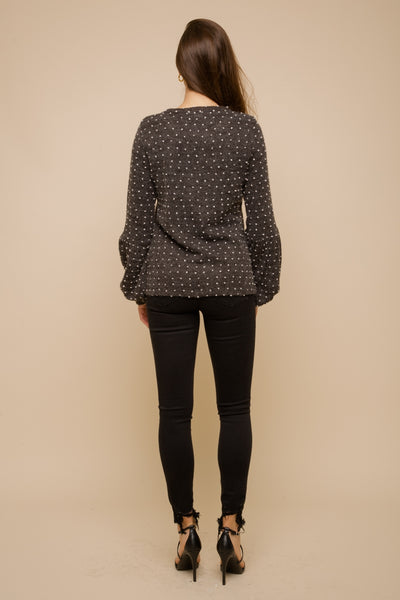 Gray Polka Dot Sweater