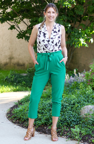 Green Tie-Waist Ankle Pants